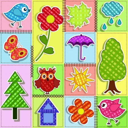 Patchwork with birds and birdhouses  Baby seamless background Vector