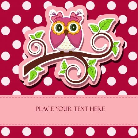Vector illustration  Owl on a branch Illustration