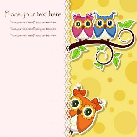 Postcard from the owls on a branch Vector