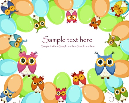 A beautiful card with balloons and owls Vector