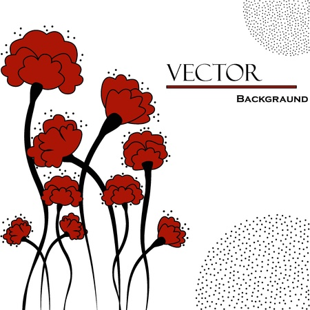 Beautiful abstract background with red flowers Vector