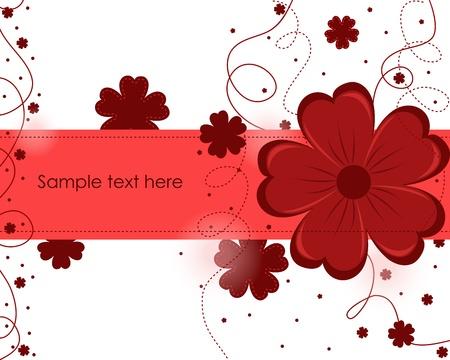 vermelho: Fundo abstrato bonito com flores vermelhas Ilustração