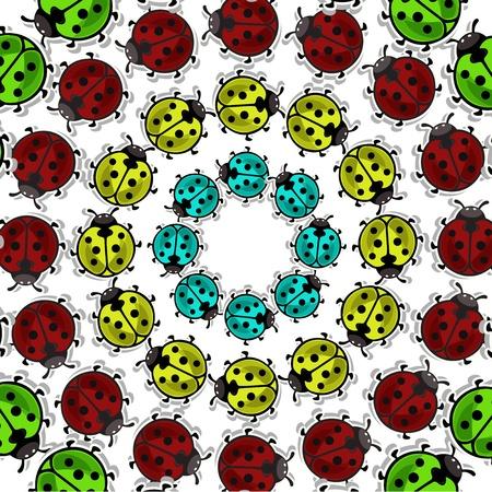 Beautiful, colorful ladybugs on white background Stock Vector - 14930015