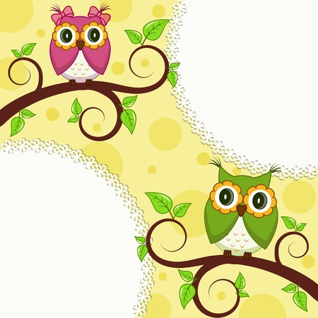 illustration  Owl on a branch Stock Vector - 14970577