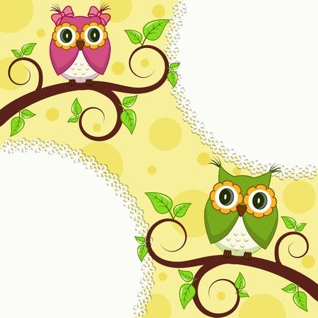 illustration  Owl on a branch Vector