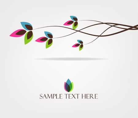 logo: Hermoso rama con hojas Vectores