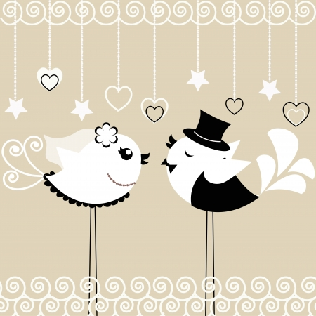 femme mari�e: Deux oiseaux de la mari�e et le mari� sur un fond gris Illustration
