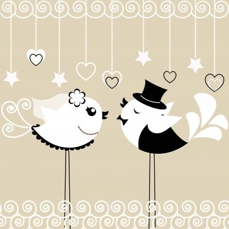 Twee vogels de bruid en bruidegom op een grijze achtergrond