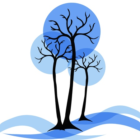 winter trees on a white background Stock Vector - 14970563