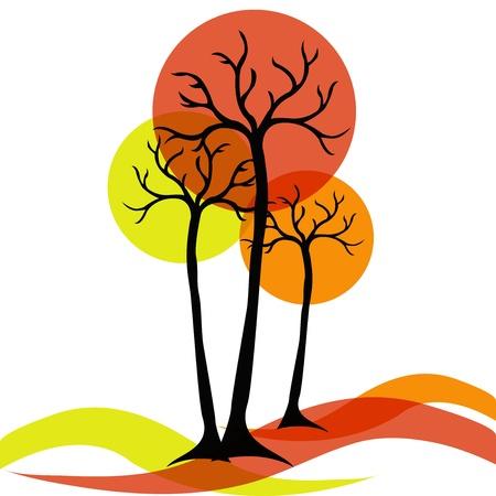 흰색 배경에 나무의 가을