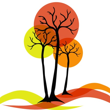 arbre automne: automne arbres sur un fond blanc