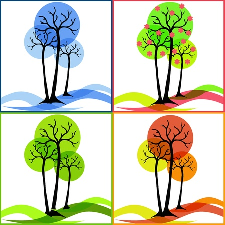 winter leaf: Four icons with trees  Summer, fall, winter, spring