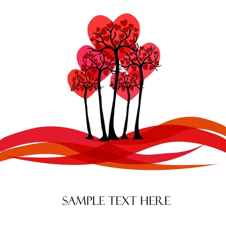 Beautiful tree with hearts on a white background