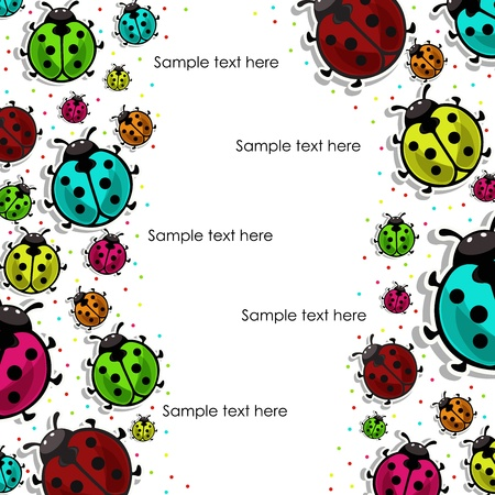 Beautiful, colorful ladybugs on white background Stock Vector - 14970579