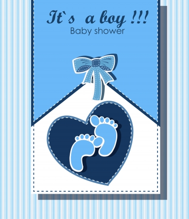 Beautiful card for baby boy Stock Vector - 15015522