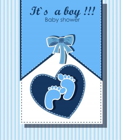service boy: Beautiful card for baby boy Illustration