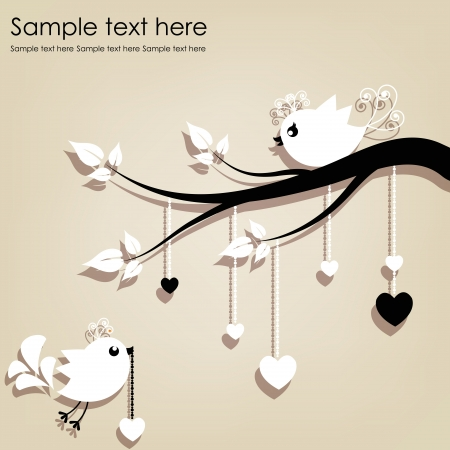 white clip: Two white birds on a branch with hearts on a gray background Illustration