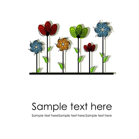 variegated: Multicolored flowers on a white background Illustration