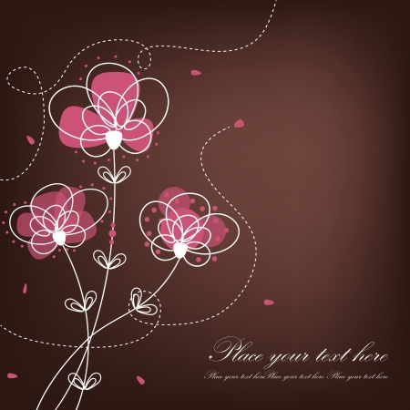 Beautiful floral background. Pink flowers on a brown background Vector