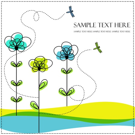 Abstract flowers with dragonfly on a white background
