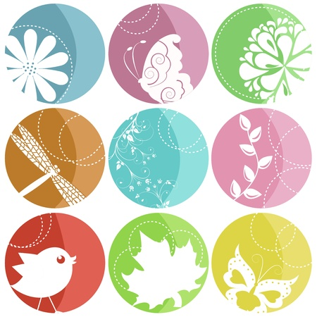 9 colorful icons with nature elements Stock Vector - 15232949