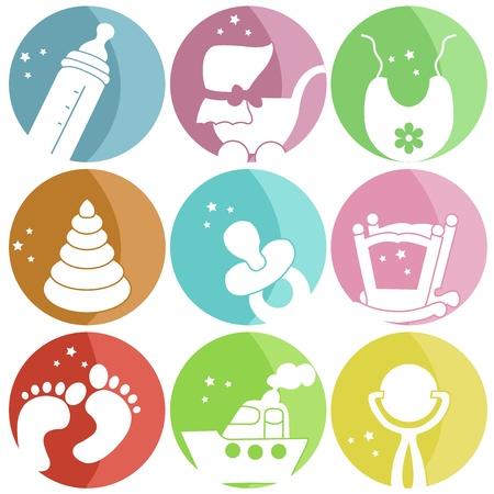 sonaja: Nueve iconos con ropa de bebé Vectores