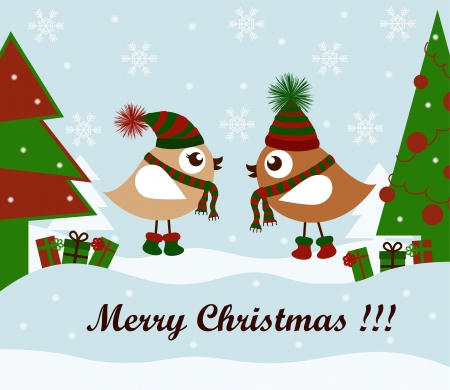 Christmas card with birds and gifts Stock Vector - 15234332