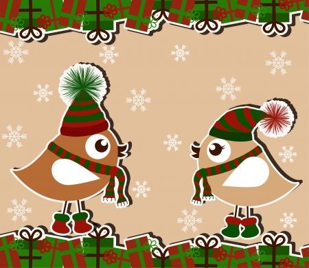 botas de navidad: Tarjeta de Navidad con los pájaros y los regalos