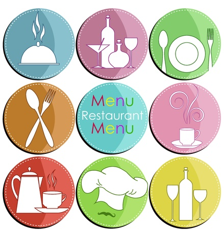 Nine icons with elements of kitchen accessories Stock Vector - 15314950