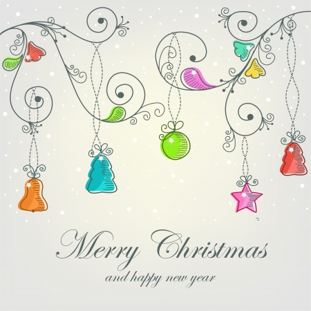 adornos navideños: Hermosa tarjeta de Navidad con adornos de Navidad