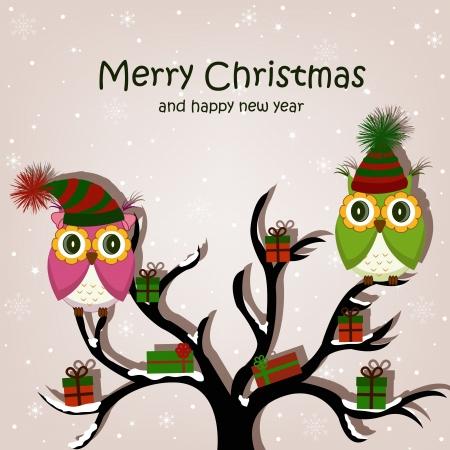 christmas postcard: Christmas card with owls on the tree