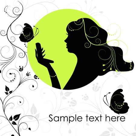 Beauty woman with butterfly Stock Vector - 15260164