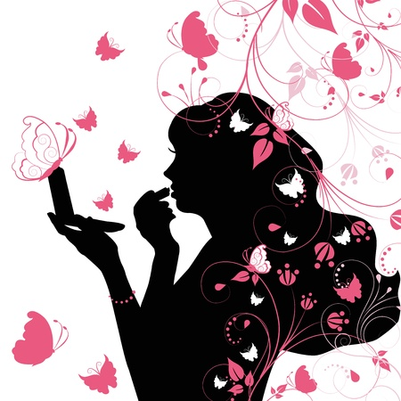 Beauty woman with butterfly Stock Vector - 15260165
