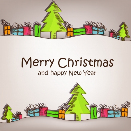 christmas fir: Christmas card with colorful christmas trees and gifts Illustration