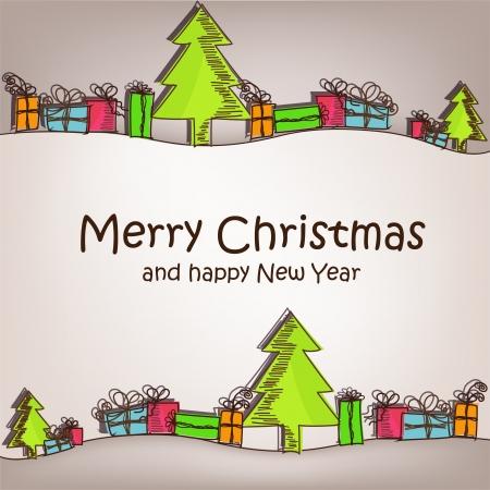 cajas navide�as: Tarjeta de Navidad con coloridos �rboles de navidad y regalos Vectores