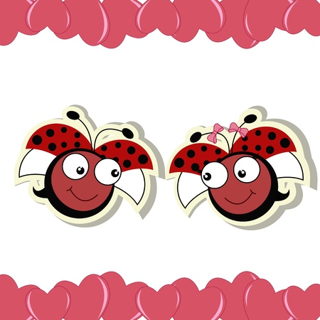 romance image: Two ladybugs in love with hearts