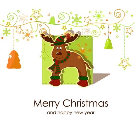 bell curve: Christmas card with a fawn Illustration