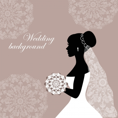 Beautiful bride with lace on a gray background Vector