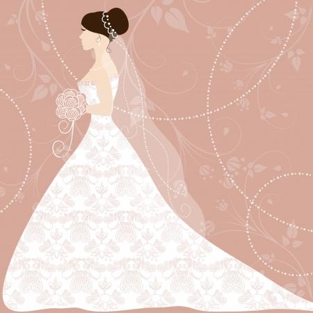 Beautiful bride on pink background Illustration