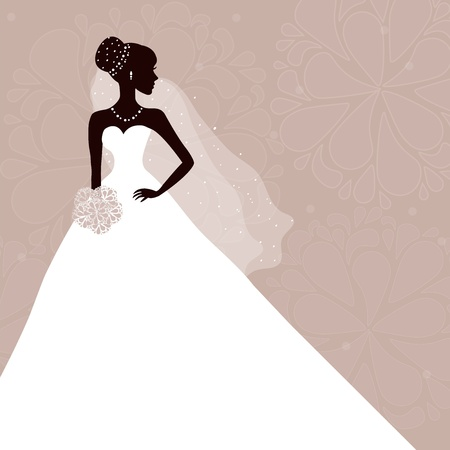 Beautiful bride with bouquet on gray background