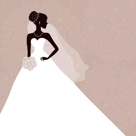 bridal dress: Bella sposa con bouquet su sfondo grigio Vettoriali