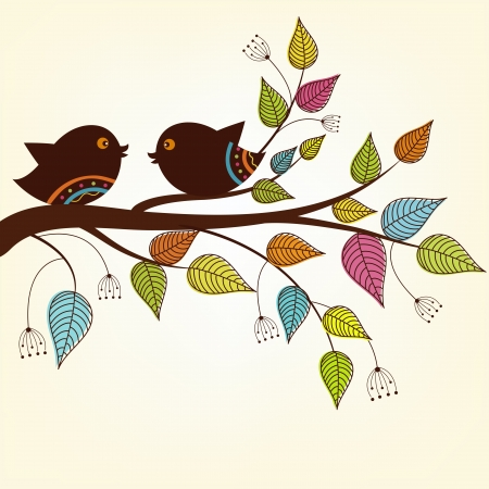 Beautiful two birds on a branch with variegated leaves Vector