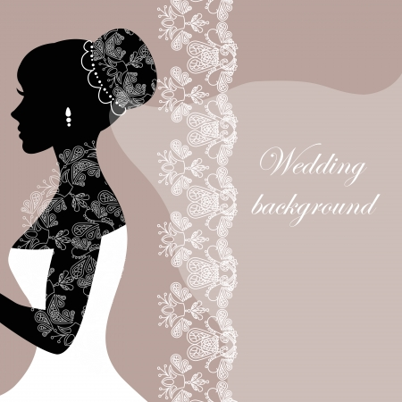 bride silhouette: Beautiful bride with lace on a gray background