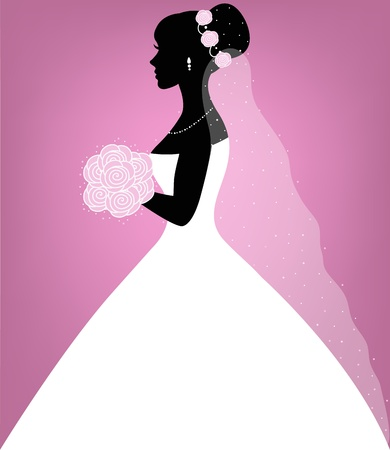 bridal veil: Beautiful bride on pink background Illustration