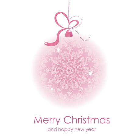 pink swirl: Christmas tree decorations Illustration