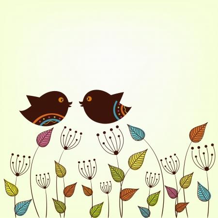 familia animada: Hermosas dos p�jaros en una rama con hojas variegadas
