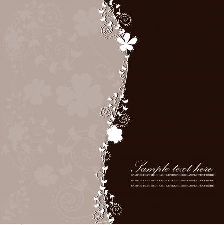 beige backgrounds: Pattern postcard with floral background Illustration