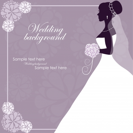 bridal veil: Beautiful bride on a purple background Illustration