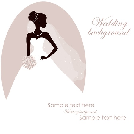 bridal veil: Beautiful bride with bouquet on gray background