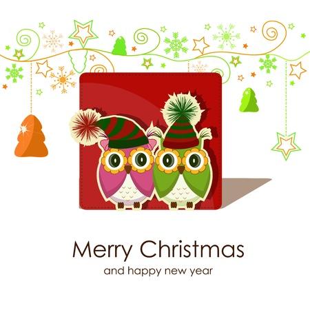 Christmas card with owls Stock Vector - 16063226